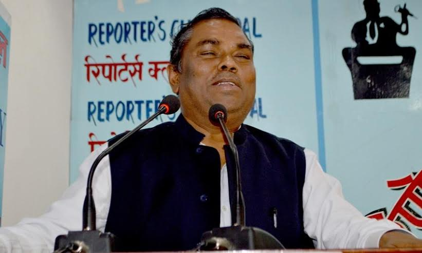 Federal Socialist Forum-Nepal (FSFN) Chairman Upendra Yadav speaks at the Reporters' Club in the Capital on Friday, March 25, 2016. Reporters' Club