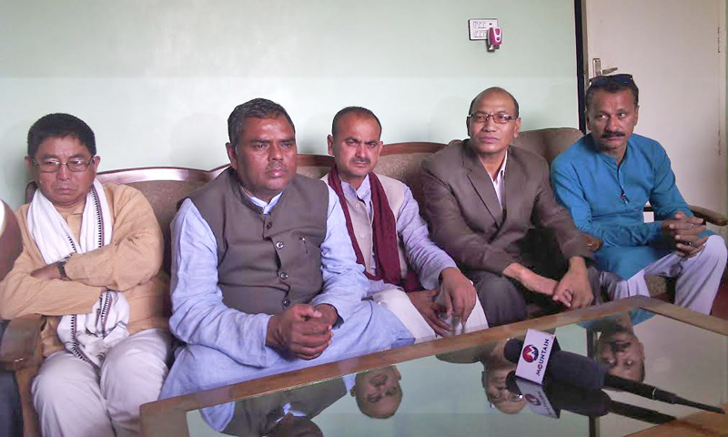 Federal Socialist Forum-Nepal (FS-N) Chairman Upendra Yadav among other leaders attending a press conference organised by FSF-N Rautahat district committee in Gaur, on Monday, March 07, 2016. Photo: Prabhat Kumar Jha