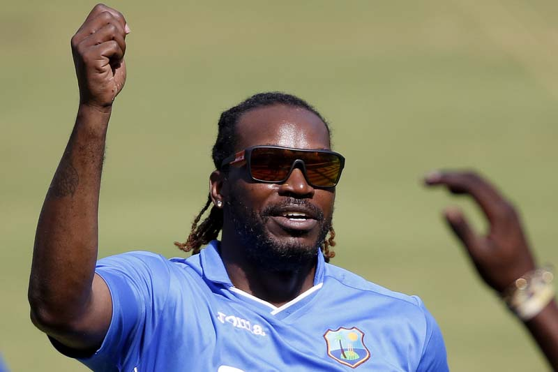 West Indies' Chris Gayle gestures during practice session ahead of their ICC Twenty20 2016 Cricket World Cup match in Mumbai, India, on Tuesday, March 15, 2016. Photo: AP