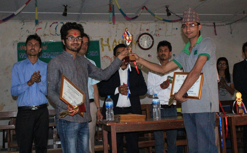 Winners of the Agricultural National Quiz Competition-2072 receive the award in Paklihawa of Rupandehi, on Wednesday, March 16, 2016. Courtesy: Deepak Ghimire