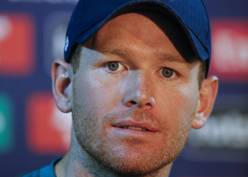 England's cricket team captain Eoin Morgan addresses a press conference a day ahead of the ICC Twenty20 2016 Cricket World Cup semi-final match against New Zealand, at the Feroz Shah Kotla cricket stadium in New Delhi, India, on Tuesday, March 29, 2016. Photo: AP