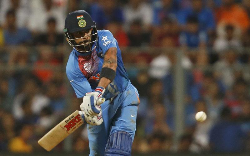 India's Virat Kohli plays a shot in World Twenty20 cricket tournament semi-final in Mumbai, India on March 31, 2016. Photo: Reuters