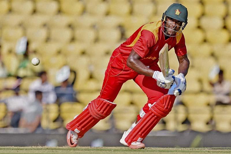 Zimbabwe's Vusi Sibanda plays a shot during the ICC World Twenty20 2016 cricket tournament against Hong Kong at the Vidarbha Cricket Association Stadium in Nagpur, India, on Tuesday, March 8, 2016. Photo: Press Trust of India via AP