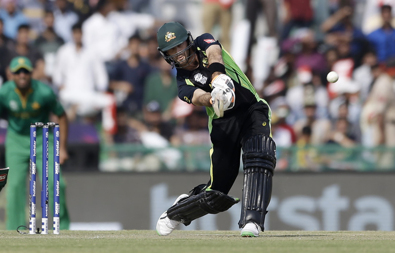 Australia's Glenn Maxwell bats during their ICC World Twenty20 2016 cricket match against Pakistan in Mohali, India, Friday, March 25, 2016. Photo: AP