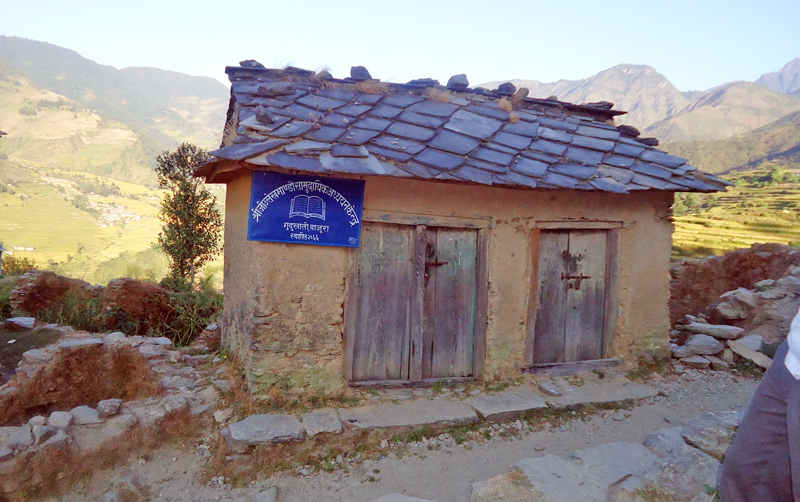 A view of a community study centre that has remained useless, in Gudukhati VDC, in Bajura, on Thursday, March 24, 2016. Photo: THT