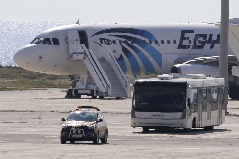 A bus carrying some passengers from the hijacked EgyptAir aircraft as it landed at Larnaca airport on Tuesday, March 29, 2016. Photo: AP