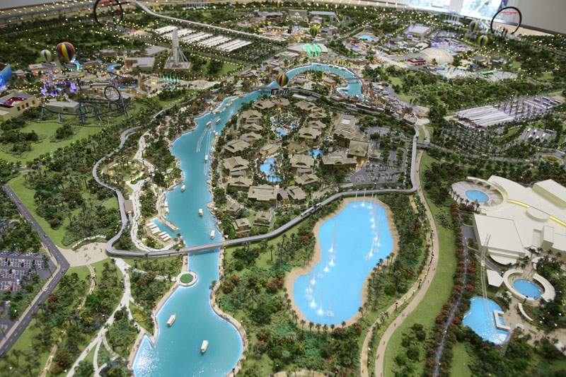 An architectural model view of the central lake and the Lapita hotel at the Dubai Parks and Resorts complex is displayed in Dubai, United Arab Emirates, on Tuesday, March 1, 2016. Photo: AP