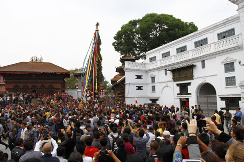 The chariot of Seto Machhindranath being pulled by devotees during the third day of the festival in Basantapuru0082 Kathmandu, in March 2015. Photo: THT/File