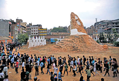 A file photo of Dharahara, which collapsed after the April 25 earthquake. Photo: THT