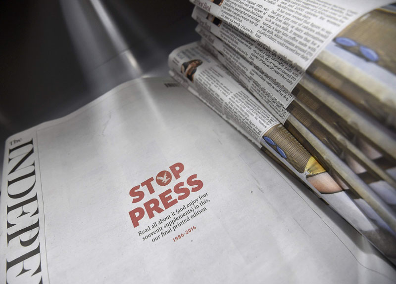 Copies of the final print edition of The Independent newspaper are seen on sale at a newsagents in west London, Britain, on March 26, 2016. Photo: Reuters