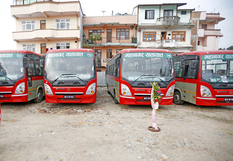 Mahanagar Transport Pvt. Ltd launched first of its kind high-tech and luxury buses in Kathmandu, on Sunday, March 13, 2016. Photo: THT
