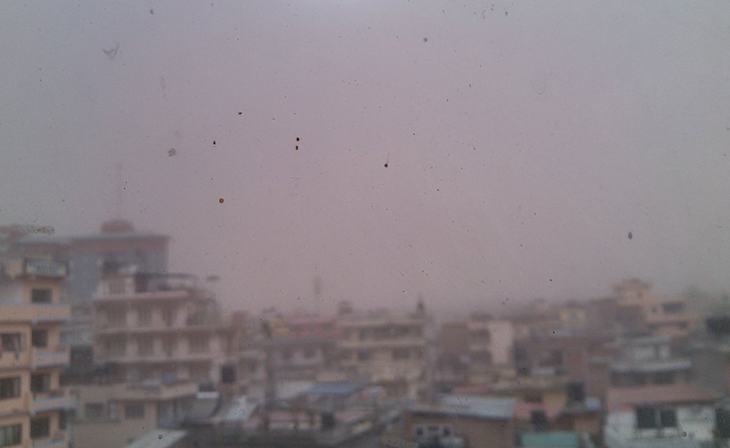 A scene of dust storm from Anamnagar of Kathmandu, on Monday, March 28, 2016. Photo: THT Online