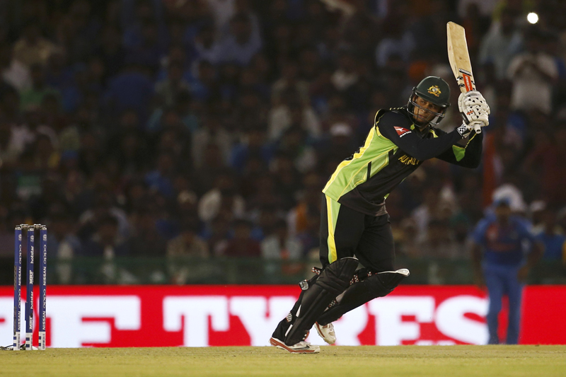 Australia's Usman Khawaja plays a shot during ICC World Twenty20 Cricket tournament against India in Mohali on Sunday, March 27, 2016. Photo: Reuters