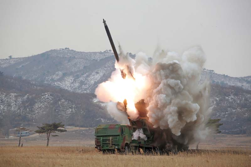 A new multiple launch rocket system is test fired in this undated photo released by North Korea's Korean Central News Agency (KCNA) in Pyongyang on March 4, 2016. Photo: KCNA via Reuters