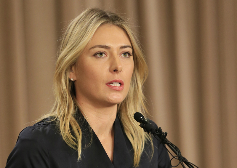 Tennis star Maria Sharapova speaks during a news conference in Los Angeles on Monday, March 7, 2016. Sharapova says she has failed a drug test at the Australian Open. Photo: AP