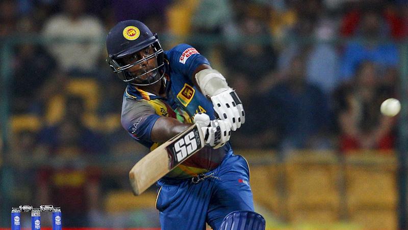 Sri Lanka's captain Angelo Mathews plays a shot during their ICC World Twenty20 2016 cricket match against West Indiesu0092 in Bangalore, India, Sunday, March 20, 2016. Photo: AP