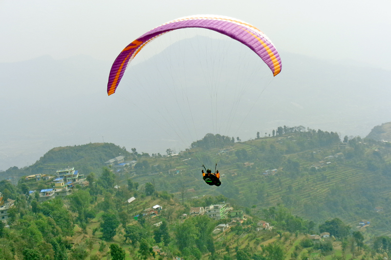 FILE: A tourist enjoying paragliding in Pokhara on Thursday, March 24, 2016. Photo: RSS