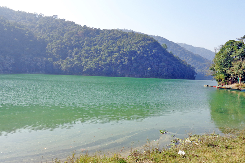 A panoramic view of Phewa Lake in Pokhara of Kaski district, as captured on Thursday, March 24, 2016. Photo: RSS