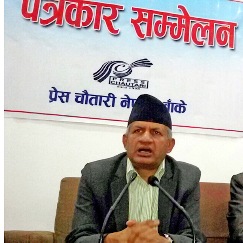 FILE: CPN-UML leader Pradeep Gyawali speaking with journalists at a press meet organised by Press Chautari Banke chapter in Nepalgunj on Friday, March 25, 2016. Photo: RSS