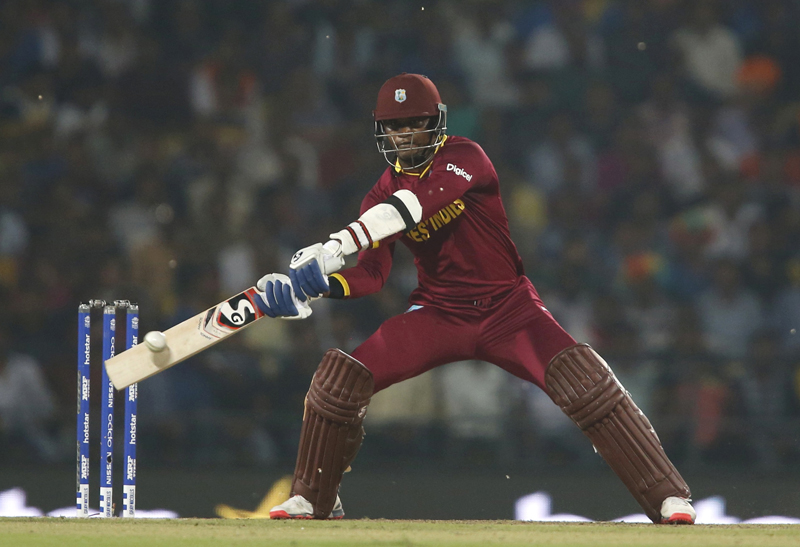 West Indies Marlon Samuels plays a shot during ICC World Twenty20 Cricket tournament against South Africa in Nagpur on Friday, March 25, 2016. Photo: Reuters