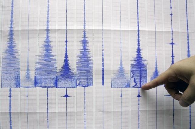 A seismologist points at a graphic showing an earthquake reading at the Central Weather Bureau in Taipei July 14, 2009. REUTERS/Pichi Chuang/Files