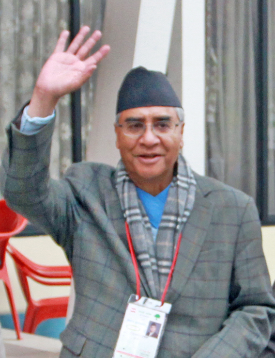 A file photo of Sher Bahadur Deuba at Nepali Congressu2019s 13th National nGeneral Convention. He was elected NC president on Monday, March 7, 2016. Photo: THT