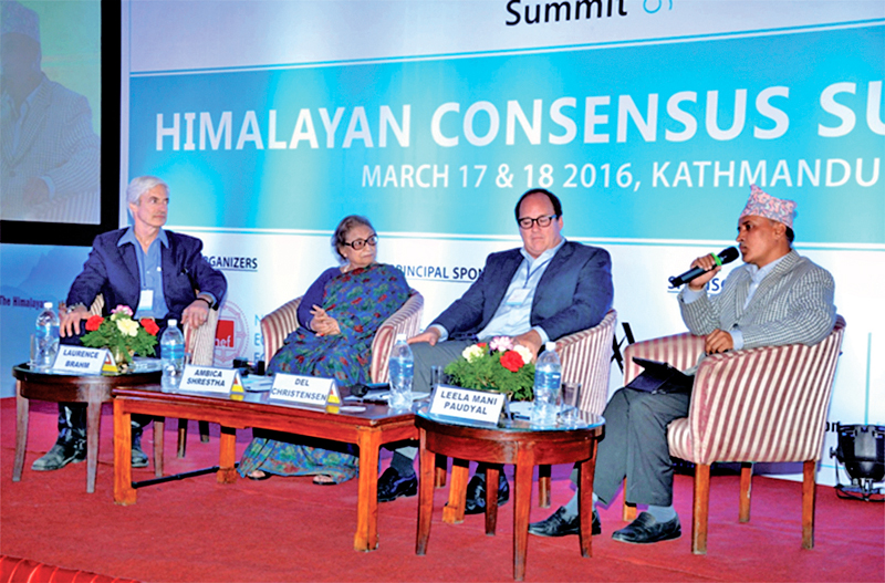 Participants attending the concluding session of the Himalayan Consensus Summit 2016, in Lalitpur, on Friday, March 18, 2016. Photo: THT