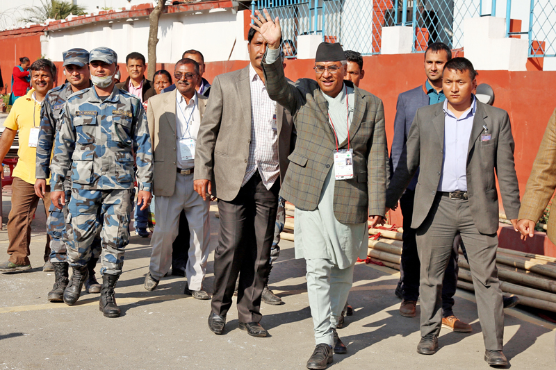 Nepali Congress leader Sher Bahadur Deuba waves to his supporters during the party's presidential run-off election in Kathmandu, on Monday, March 7, 2016. Photo: RSS