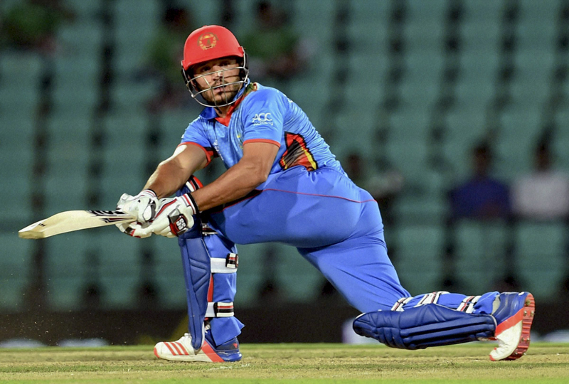 Afghanistan batsman Asghar Stanikzai plays a shot against Scotland during the ICC World Twenty20 2016 cricket tournament at the Vidarbha Cricket Association Stadium in Nagpur, India, Tuesday, March 8, 2016. Photo: AP