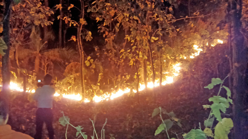 A wildfire, which had broken out three days ago, has yet to be brought under control, in Phuljore Jungle of Mahabharat Community Forest, Udayapur, on Monday, March 14, 2016. Photo: THT