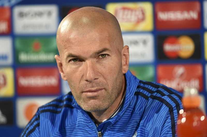 Real coach Zinedine Zidane attends a news conference on the eve of UEFA Champions League match against VfL Wolfsburg at Volkswagen Arena on April 5, 2016. Photo: Reuters