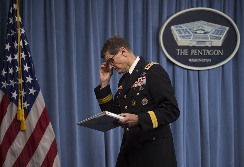 Army General Joseph Votel, Commander of US Central Command, leaves after briefing reporters on the release of the investigation into the US airstrike on the Doctors With Borders trauma centre in Kunduz, Afghanistan, on Friday, April 29, 2016, at the Pentagon. Photo: Molly Riley/AP