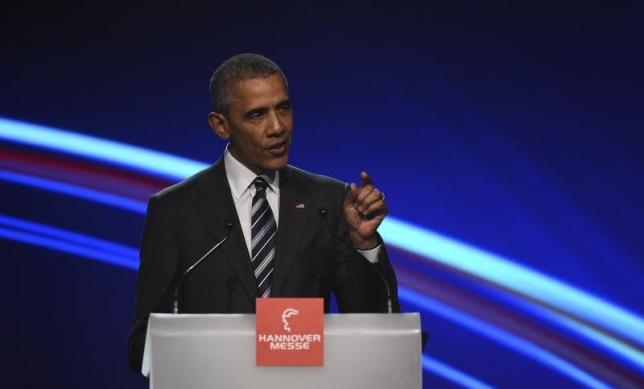 U.S. President Barack Obama gestures as he makes a speach during the opening ceremony of the Hannover Messe in Hanover, Germany April 24, 2016. REUTERS/Nigel Treblin
