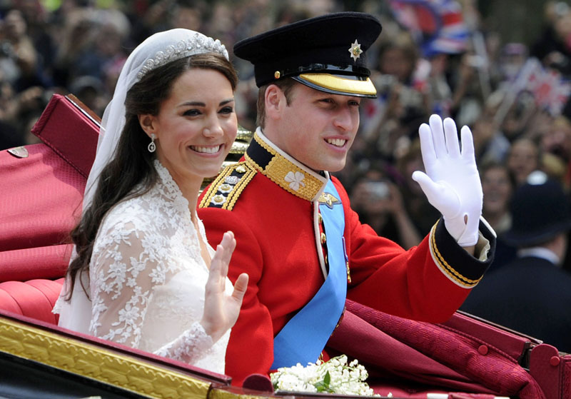 FILE - Britain's Prince William and his bride Kate, Duchess of Cambridge, leave Westminster Abbey, London, following their wedding, on April 29, 2011. Photo: Tom Hevezi/AP