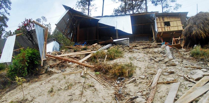 The ruins of Baitadi Samrai Hotel after it collapsed in Amargadhi of Dadeldhura. Photo: RSS
