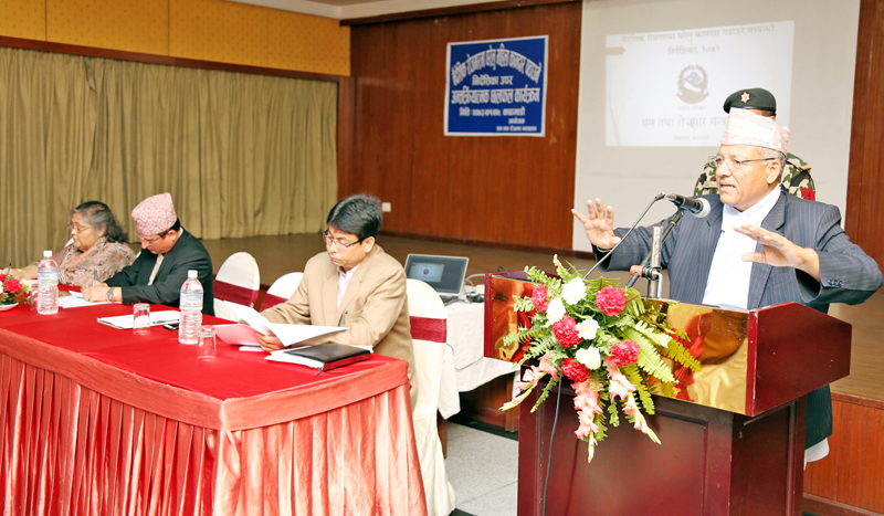 Minister for Labour and Employment Deepak Bohara speaks at an interaction programme, organised by the Ministry, about the directives for sending domestic labour abroad, in Kathmandu on Tuesday, April 19, 2016. Photo: RSS