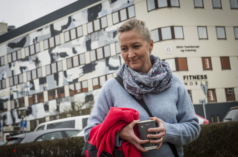 FILE- Danish Lisbeth Zornig Andersen is photographed outside the court, in Nykobing Falster, Norway, after receiving a fine of 22500 Danish Kroner ($3420) for helping people transit through Denmark illegally,  on March 11, 2016.  Photo: Per Rasmussen, Polfoto via AP