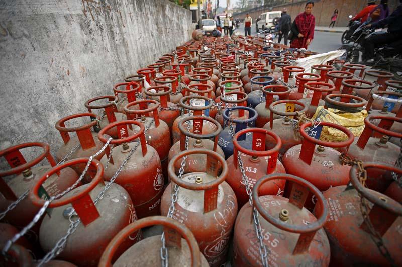 Empty cooking gas cylinders kept for refilling outside a gas depot in Anamnagar, Kathmandu on Thursday, March 24, 2016. Photo: Skanda Gautam/ THT