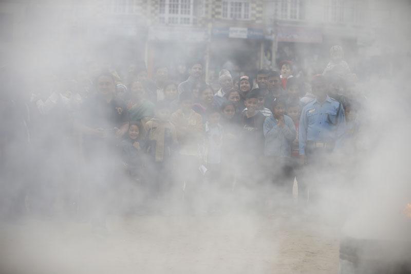 Audience engulf in smoke. Photo: Skanda Gautam/THT