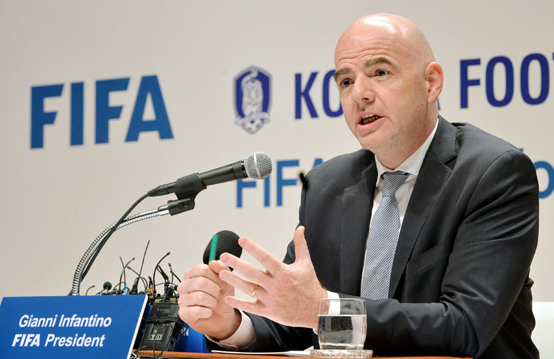 FIFA President Gianni Infantino speaks during a press meet in Seoul on Wednesday. Photo: Reuters
