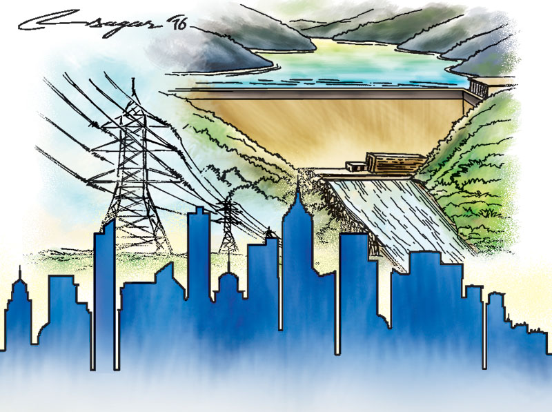 Hydro power and Development. Illustration: Ratna Sagar Shrestha/THT