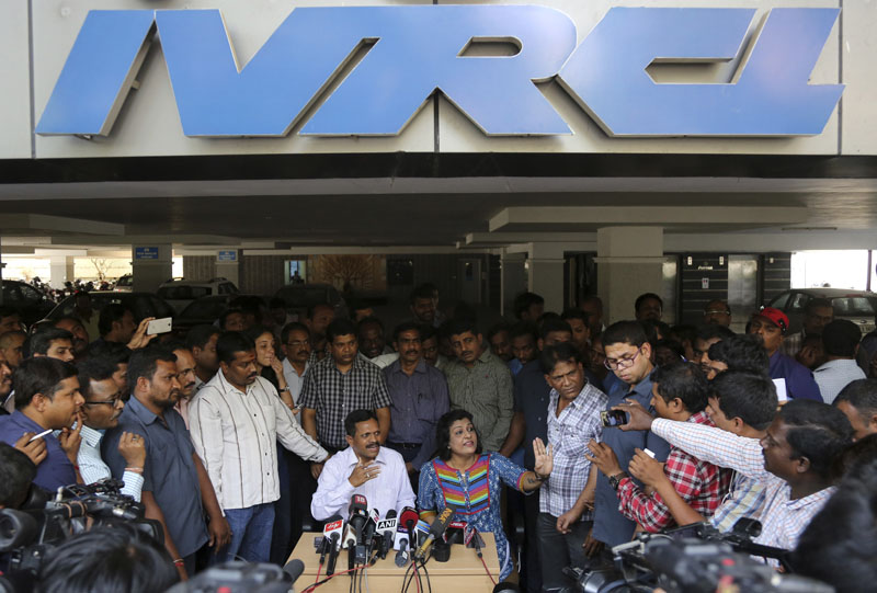 K Panduranga Rao (centre left), group head of,human resources and administration, and Sita, (centre right), legal head of IVRCL, the company that was constructing the underpass in Kolkata, that collapsed partially on Thursday, March 31,  address the media at their office in Hyderabad, India, on Friday, April 1, 2016. Photo: AP