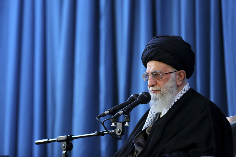 Iran's Supreme Leader Ayatollah Ali Khamenei speaks to a crowd in the northern city of Mashhad, Iran, on Sunday, March 20, 2016. Photo: Office of the Iranian Supreme Leader via AP