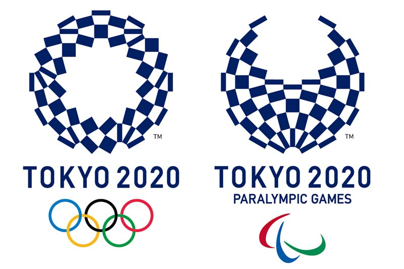 This image released on Monday, April 25, 2016 by The Tokyo Organising Committee of the Olympic and Paralympic Games shows the new official logos of the 2020 Tokyo Olympics (left) and the 2020 Tokyo Paralympic Games. Photo: The Tokyo Organising Committee of the Olympic and Paralympic Games via AP