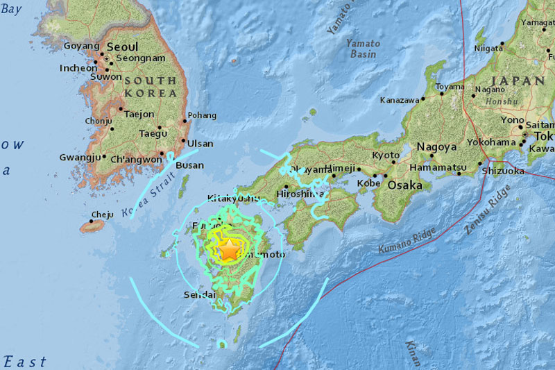 A magnitude 7.4 earthquake struck near Kumamoto in southern Japan on Friday at a depth of 40 km (25 miles), on April 15, 2016. Image: USGS