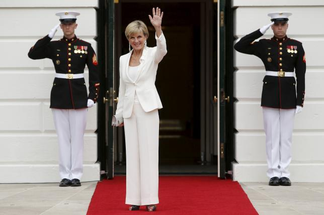 Australian Foreign Minister Julie Bishop arrives for a working dinner with heads of delegations for the Nuclear Security Summit at the White House in Washington March 31, 2016. REUTERS/Jonathan Ernst