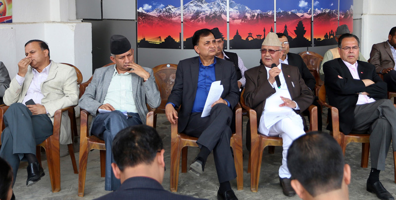CPN-UML Chairman KP Sharma Oli (2nd from right) among other leaders addresses a press meet at his party office, Dhumbarahi of Kathmandu, on Saturday, April 16, 2016. Phto: RSS