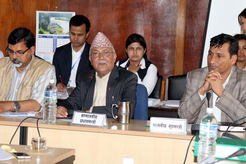 Prime Minister KP Sharma Oli participates in a meeting of the Public Accounts Committee (PAC) under the Legislature-Parliament, at Singha Durbar, on Thursday, April 28, 2016. Photo: RSS