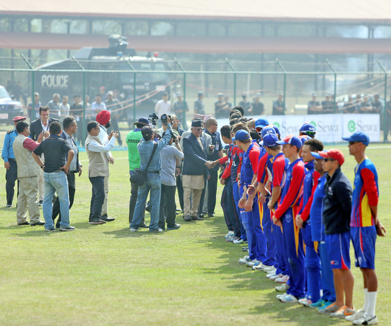 Prime Minister KP Sharma Oli shake hands with players prior to the second match between Nepal vs Namibia during ICC World Cricket League Championship at Tribhuvan University International ground in Kirtipur on Monday, April 18, 2016. Photo: RSS