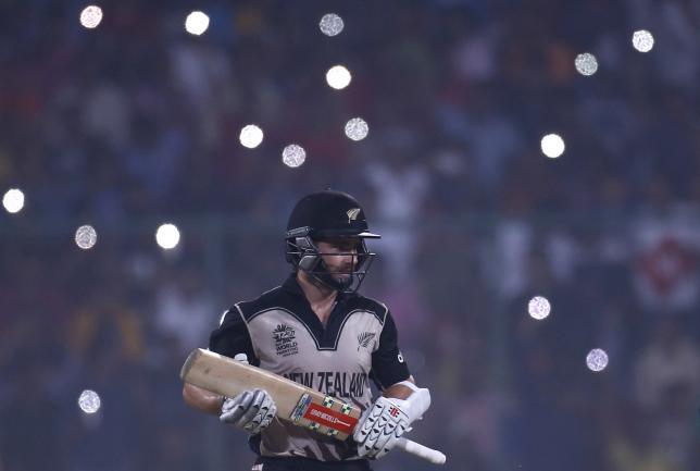 Cricket - England v New Zealand - World Twenty20 cricket tournament semi-final - New Delhi, India - 30/03/2016. New Zealand's captain Kane Williamson runs between the wickets.  REUTERS/Adnan Abidi